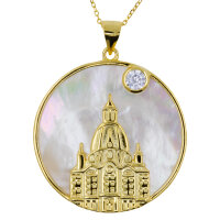 Pendant woman church gold plated