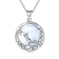 Pendant cat moon with mother of pearl