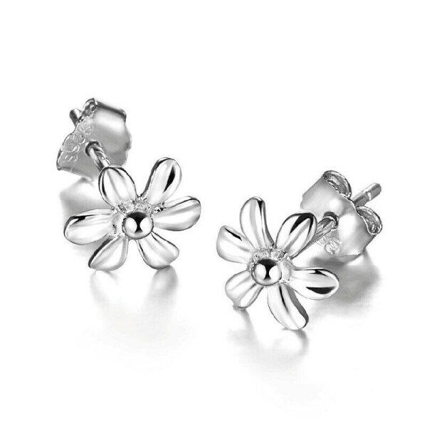 Blume 925 Silber Stecker Blümschen Ohrringe Gänseblume Ohrstecker Sommer Schmuck