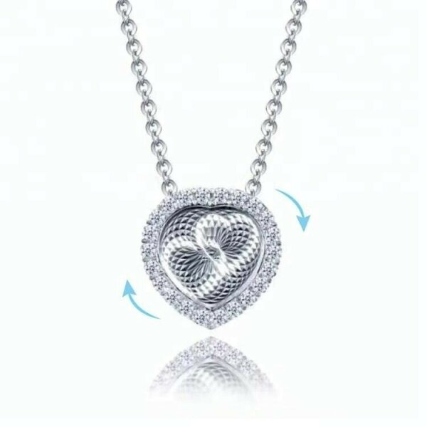 Herz 925 Silber Halskette 3D Effekt ? Tanz Herzen ? Geschenk Idee Liebe Modern ?