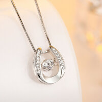 Necklace horseshoe with a dancing cubic zirconia