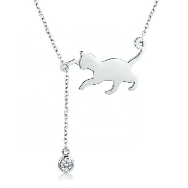 Collier Katze mit flexiblen Stein