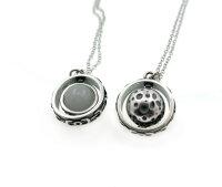 Nachtleuchtender Mond 925 Sterling Silber Halskette 3D...