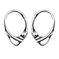 Ohrring Verschluss Ohrhaken 925 Silber Feder Brisur mit Rhodium Veredelung Zart