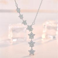 Sternen Halskette 925 Silber Collier Zarte Funkelnde Sterne Elegant & Modern