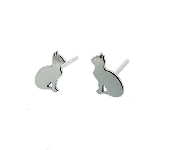 Süße Katzen Ohrringe 925 Silber Zarte Ohrstecker Sonderedition Mietz Pfote